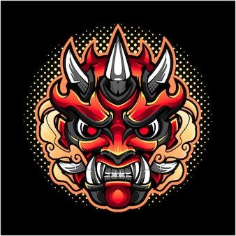 Oni cabeça mascote logotipo