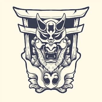 Oni com ilustração de tinta japonesa portão do inferno