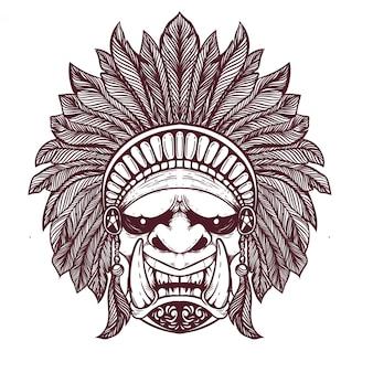 Oni enfrenta com ilustração de chapéu de tribo