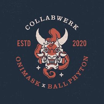 Oni máscara bola phyton logotipo vintage icon ilustração
