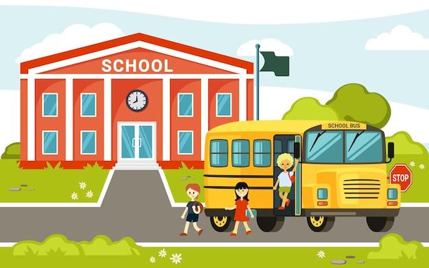 Ônibus amarelo perto da ilustração da escola. o carro de passageiros trouxe crianças alegres para a escola