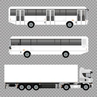 Ônibus brancos e veículos de maquete de caminhões