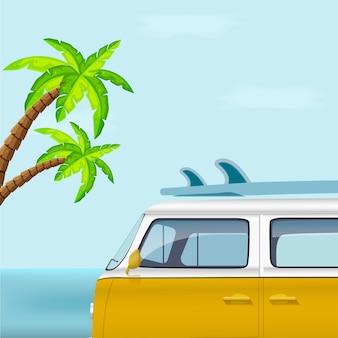 Ônibus com prancha de surf no fundo das palmeiras. ilustração vetorial.