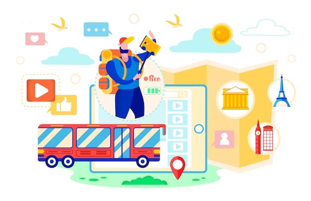 Ônibus com rquipment em uma viagem