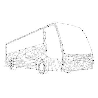 Ônibus de abstratas futuristas poligonais linhas e pontos pretos.