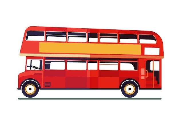 Ônibus de dois andares isolado no fundo branco. ilustração.