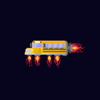 Ônibus de escola de espaço de pixel. atrás para school.8bit.