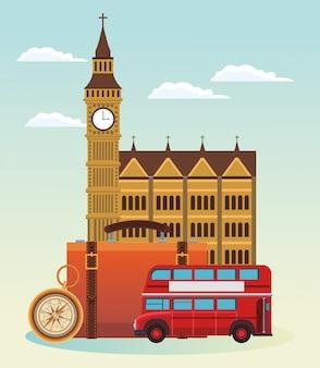Ônibus de londres e prédio com mala e bússola