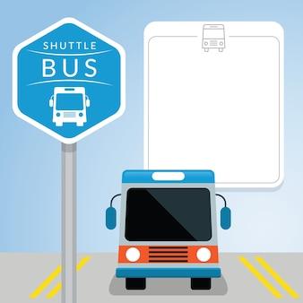 Ônibus de transporte com sinal, vista frontal, espaço em branco