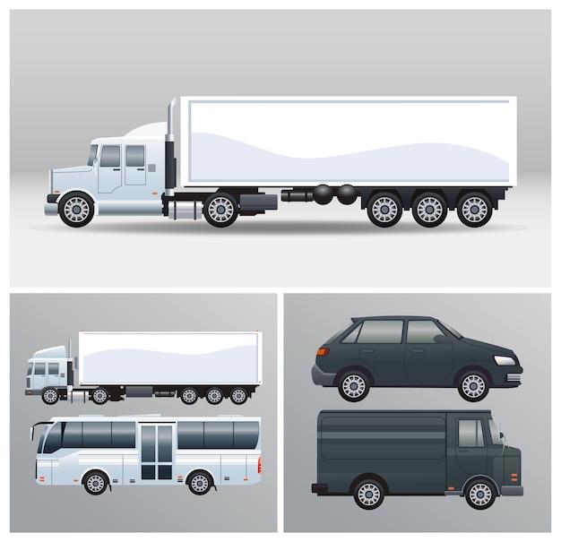 Ônibus e caminhões com estilo maquete de veículos