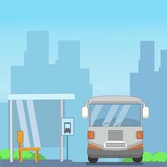 Ônibus e ponto de parada no design plano da cidade