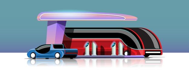 Ônibus elétrico e automóvel carregando na estação de energia da garagem