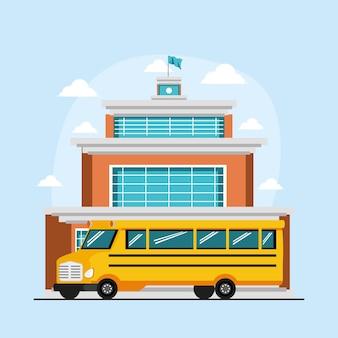 Ônibus em um prédio escolar