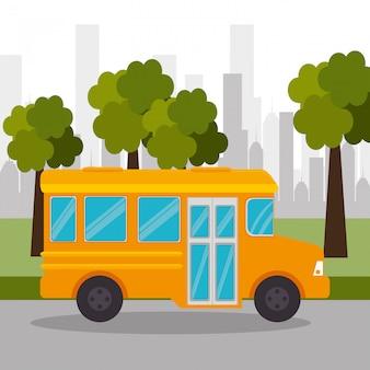 Ônibus escola árvore urbano ícone