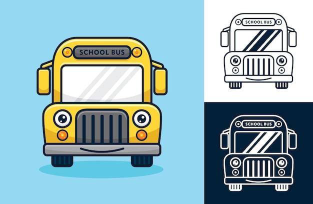 Ônibus escolar a sorrir. ilustração de desenho vetorial no estilo de ícone plano
