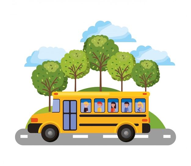 Ônibus escolar amarelo com crianças