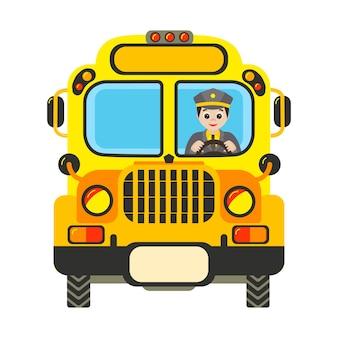 Ônibus escolar amarelo dos desenhos animados com motorista