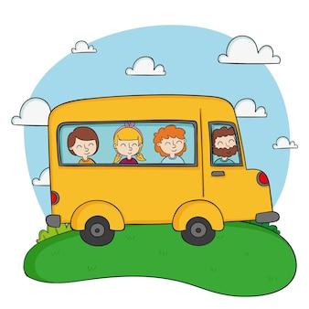 Ônibus escolar amarelo e crianças