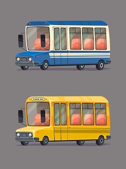 Ônibus escolar amarelo. ônibus público. conjunto de carros retrô. estilo de desenho animado.