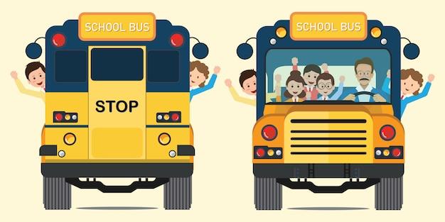 Ônibus escolar amarelo para trás e vista frontal com crianças sorrindo felizes andando no ônibus escolar.