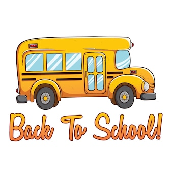 Ônibus escolar bonito com cor e de volta ao texto da escola usando a mão desenhada ou estilo doodle