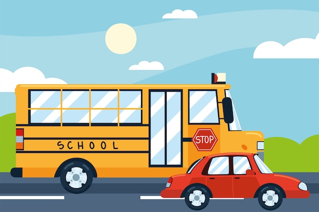 Ônibus escolar, carro, transporte municipal