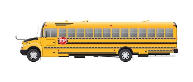 Ônibus escolar clássico longo amarelo. crianças andando de transporte de ônibus escolar. transporte de educação. ilustração em estilo simples