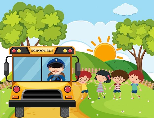 Ônibus escolar com crianças e motorista nas colinas