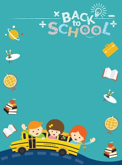 Ônibus escolar com quadro de ícones de estudante e educação
