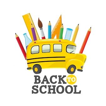 Ônibus escolar com suprimentos de utensílios de educação