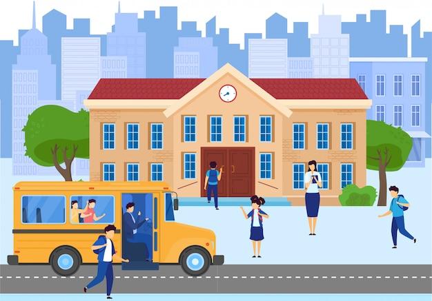Ônibus escolar, construção e jardim da frente com crianças estudantes, professor na ilustração dos desenhos animados de fundo de paisagem urbana.