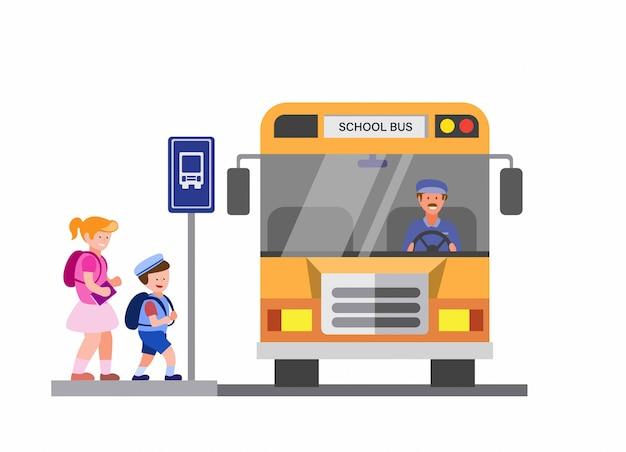 Ônibus escolar, crianças de volta às aulas na ilustração plana dos desenhos animados