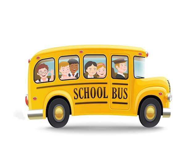 Ônibus escolar de desenho animado com crianças. de volta ao conceito de escola. .