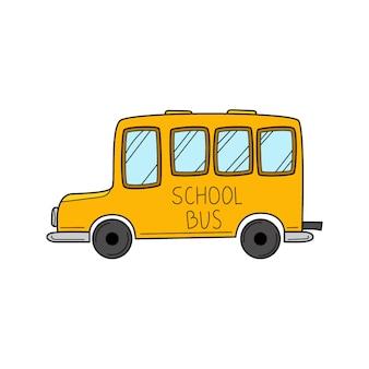 Ônibus escolar de estilo doodle. ilustração em vetor colorida desenhada à mão.