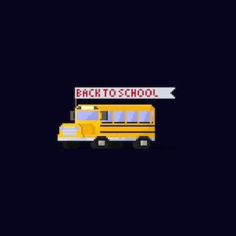 Ônibus escolar de pixel com volta para a bandeira da escola