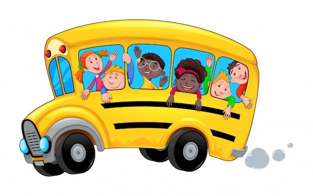 Ônibus escolar dos desenhos animados com estudantes criança feliz