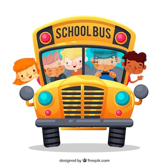 Ônibus escolar dos desenhos animados e crianças com design plano