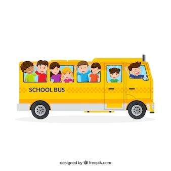 Ônibus escolar e crianças com design plano
