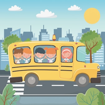 Ônibus escolar e crianças