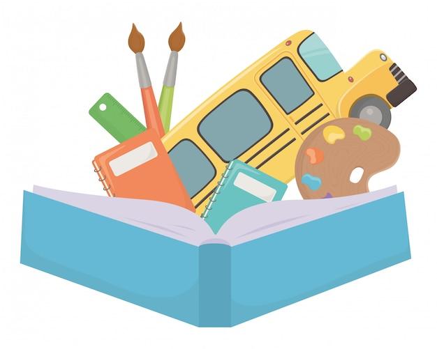 Ônibus escolar e material de design