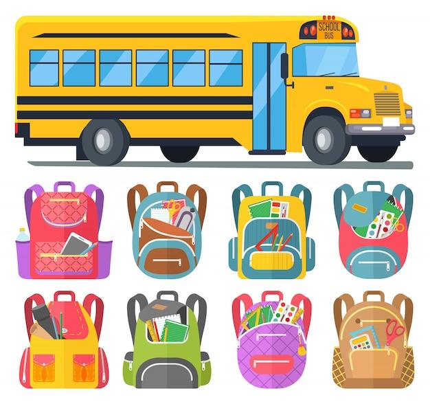 Ônibus escolar e mochilas com artigos de papelaria ou livros
