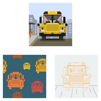 Ônibus escolar editável na ilustração de estrada com fundo de paisagem urbana