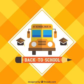 Ônibus escolar fundo amarelo