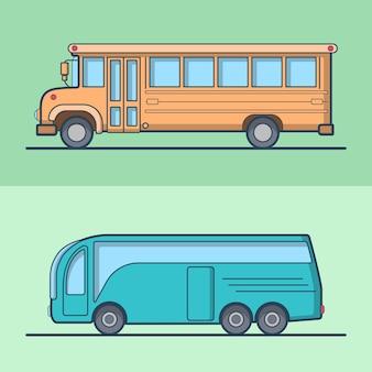 Ônibus escolar intermunicipal moderno conjunto retro vintage schoolbus transporte público. ícones de contorno de traço linear.
