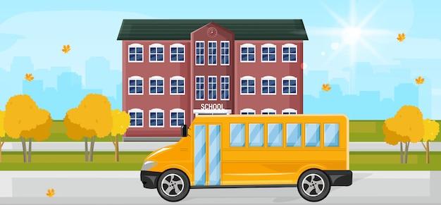 Ônibus escolar na ilustração da entrada da escola
