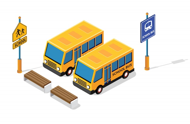 Ônibus escolar no estacionamento da rua