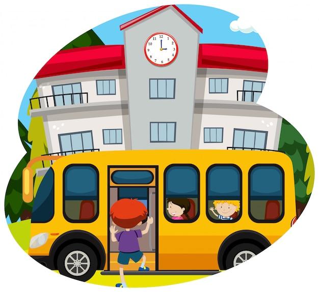 Ônibus escolar pegar aluno para a escola