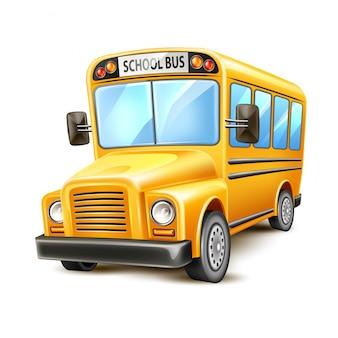 Ônibus escolar realista amarelo eua veículo