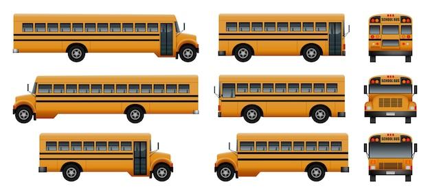 Ônibus escolar volta kids conjunto de ícones