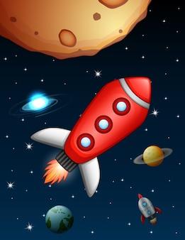 Ônibus espaciais e foguete voando perto do planeta